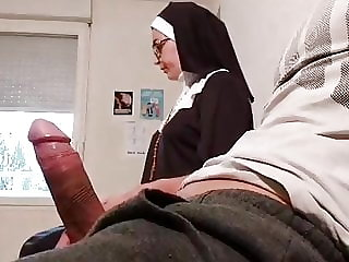 I pull out my cock next to this nun in the waiting room…